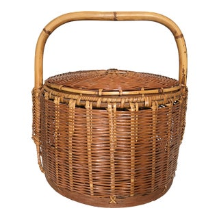 Vintage Woven Rattan and Bamboo Lidded Chinese Wedding Basket For Sale