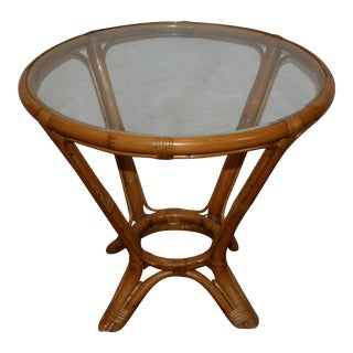 Mid Century Natural Bamboo & Rattan Round Beveled Glass Top End Table For Sale