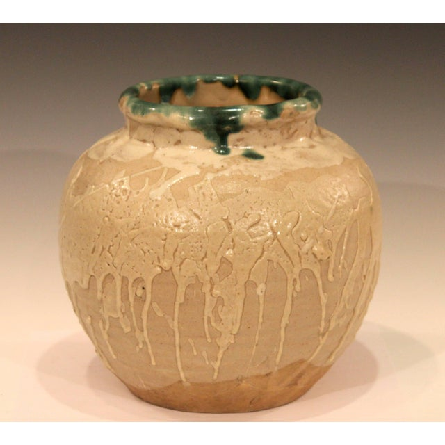 """Vintage Awaji vase with glazes dripped and splashed on, circa 1930. Measures: 8 1/2"""" high, 9"""" diameter. Excellent condition."""