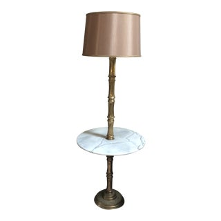 Brass and Marble Bamboo Table Floor Lamp For Sale