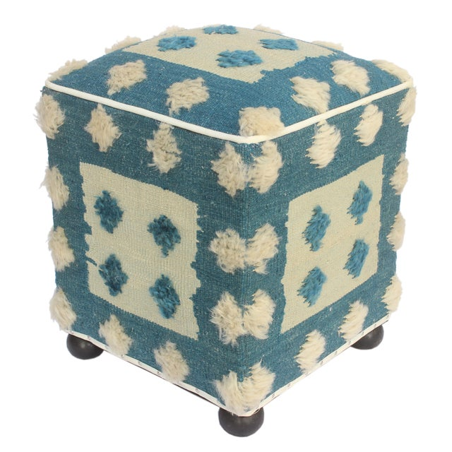 Textile Modern Moroccan Blue & Tan Wool Upholstered Handmade Ottoman For Sale - Image 7 of 7