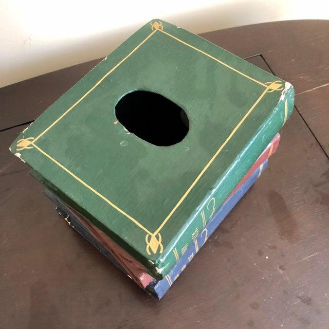 Figurative Trompe l'Oeil Papier Mache Stacked Books Tissue Box Cover For Sale - Image 3 of 9