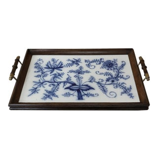 Early 20th Century Antique Hand-Painted Tile Serving Tray For Sale