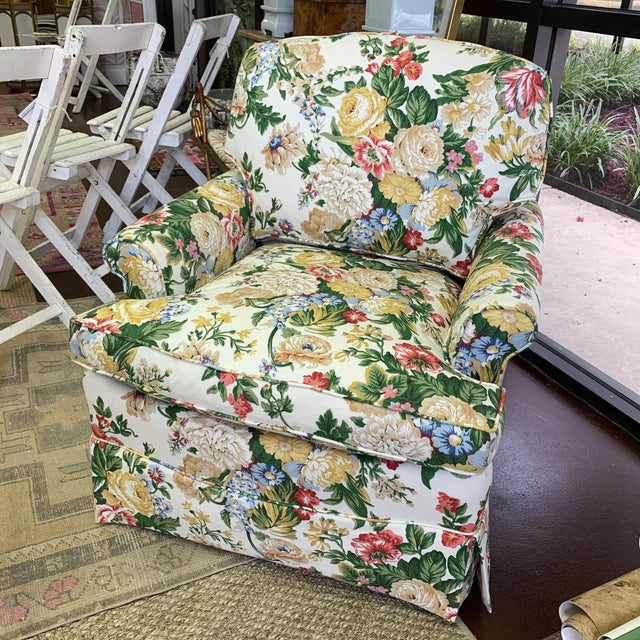Floral Club Chair - New Upholstery (Vintage Fabric) For Sale - Image 10 of 13