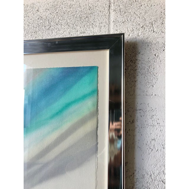 Metal Vintage Mid Century Modern Framed Abstract Washed Acrylic Signed by the Artist. For Sale - Image 7 of 13