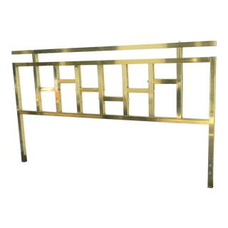 Hollywood Regency Brass Finish King Size Headboard For Sale