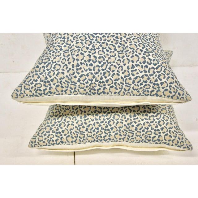 Dusty Blue Linen Leopard Pillows, Pair For Sale - Image 4 of 6