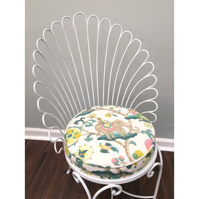 Hollywood Regency Shell Back Metal Side Chair - Image 3 of 8