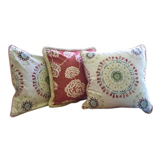 Robert Allen Designer Fabric Pillows - Set of 3 For Sale