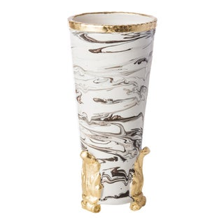 Roma Marble Vase with Gold Acanthus Accents For Sale