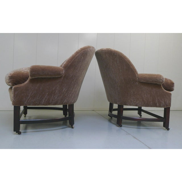 Midcentury Mohair Barrel Club Chairs For Sale - Image 5 of 8