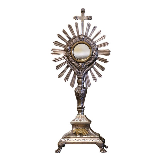 """19th Century French Silvered Bronze Catholic Monstrance """"Ostensoir"""" For Sale"""