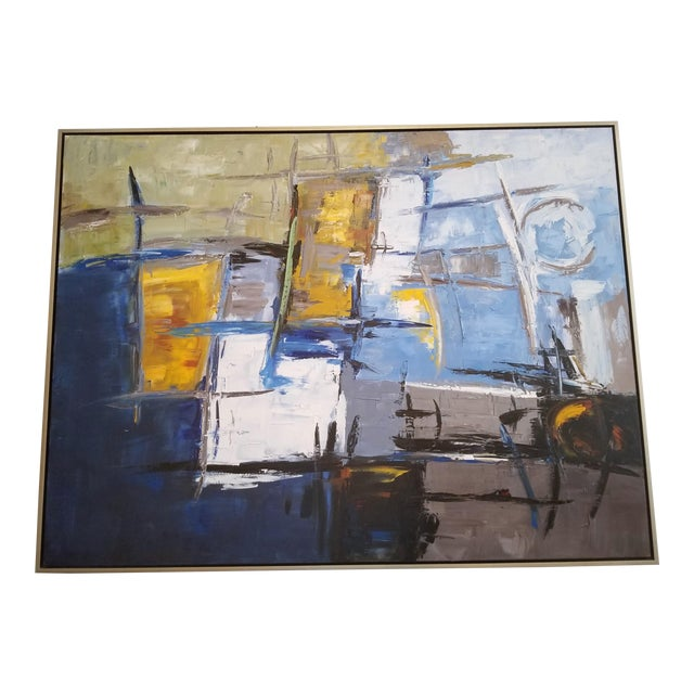Oversized Abstract Art on Canvas in Metal Frame For Sale