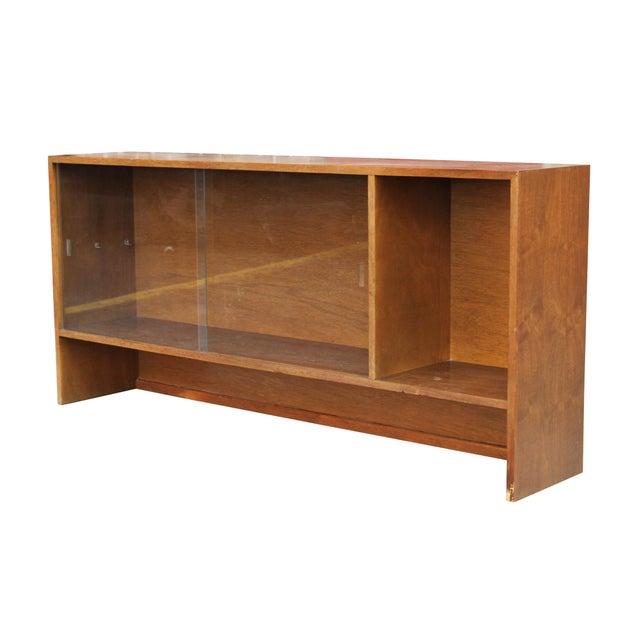Walnut Bookshelf with Sliding Glass Doors For Sale - Image 6 of 6
