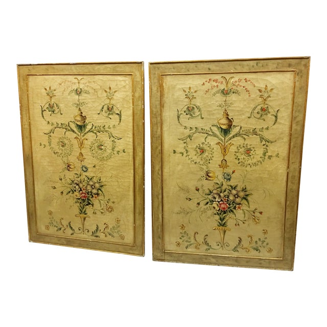 Early 20th Century Antique Painted Floral Canvas Panels - A Pair For Sale