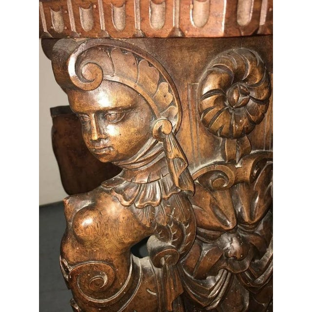 Late 19th Century 19th Century Gothic Carved Hall Chairs - a Pair For Sale - Image 5 of 7