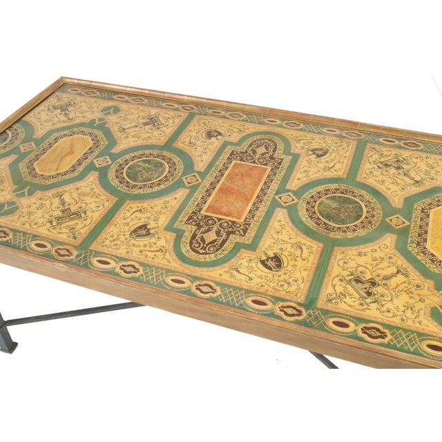 Italian Roman Neoclassic rectangular coffee table with a mid-18th century panel decorated in a Pompeiian style faux marble...