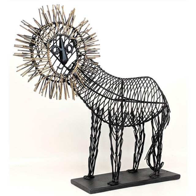 Vintage Lion Wire Sculpture For Sale - Image 11 of 11