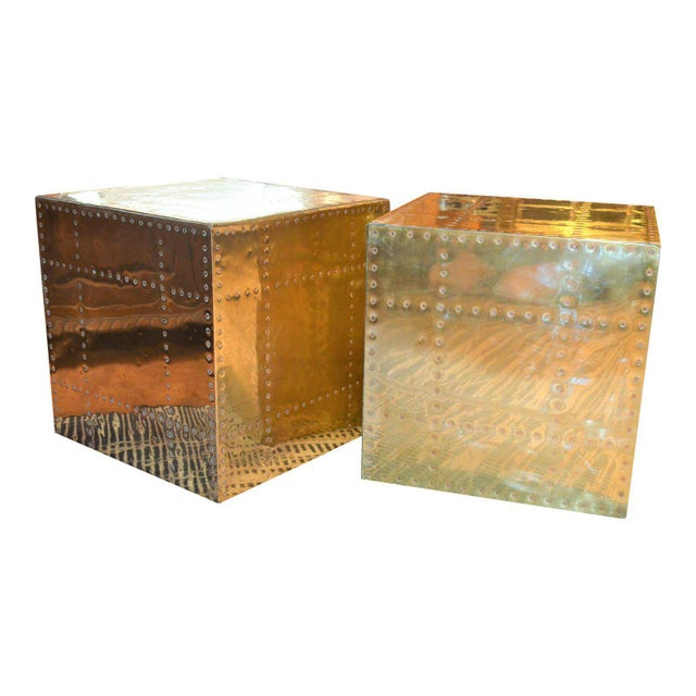 Turquoise Sarreid Ltd. Brass Cube Side Tables - a Pair For Sale - Image 8 of 10