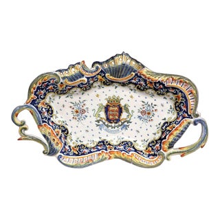 Early 20th Century French Hand-Painted Faience Wall Platter From Normandy For Sale