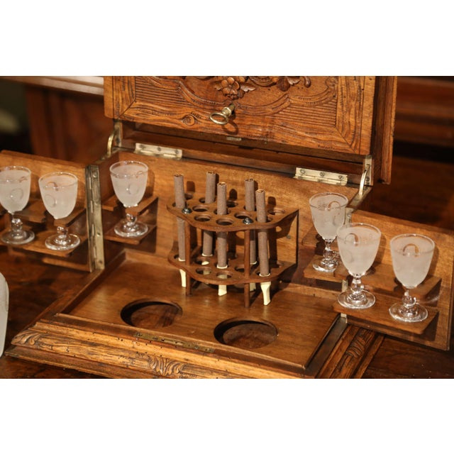 Wood 19th Century French Black Forest Carved Walnut Cave a Liqueur With Cigar Holders For Sale - Image 7 of 13