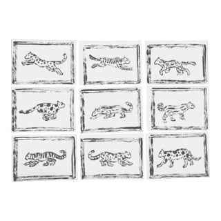 Black & White Leopard Tiger Paintings - Set of 9 For Sale