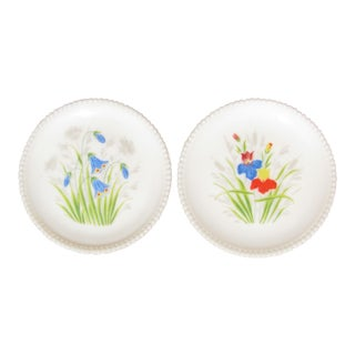 Handpainted Floral Milk Glass Plates, Pair For Sale