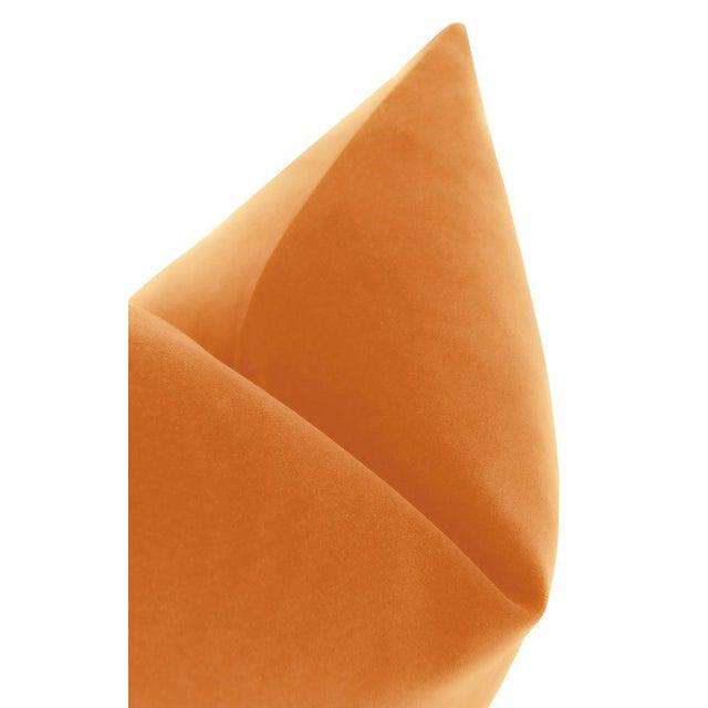 """22"""" Hermes Orange Italian Velvet Pillows - a Pair For Sale - Image 4 of 5"""