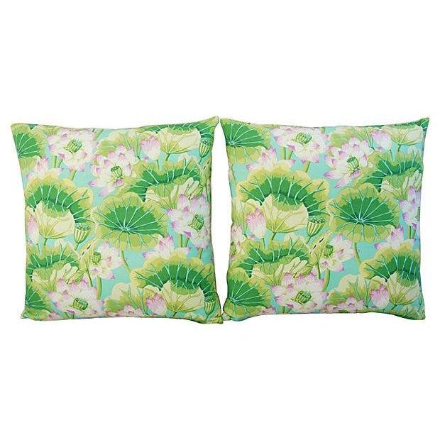 Kaffe Fassett Green Lotus Pillows - A Pair - Image 7 of 8