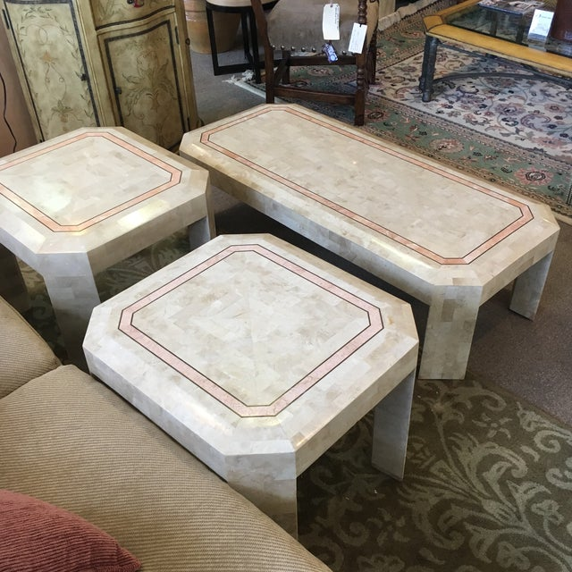 Tan Tessellated Fossil Coral Cocktail & End Tables - Set of 3 For Sale - Image 8 of 10