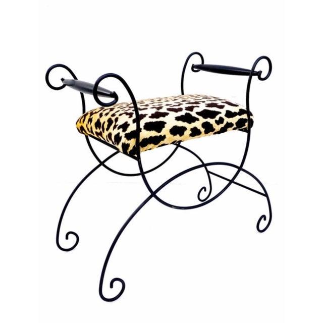 1940s Mid-Century Hollywood Regency Leopard Velvet Empire Style Vanity Bench For Sale - Image 5 of 10