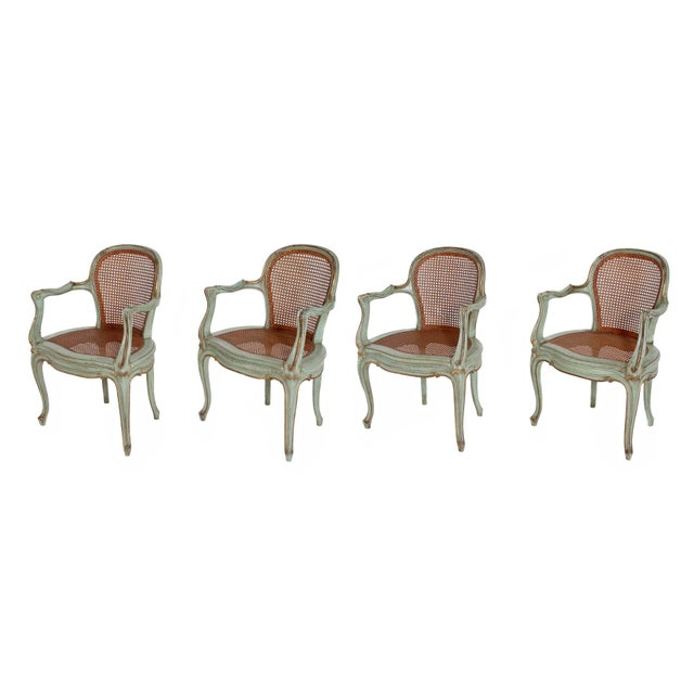 Set of 4 Italian Caned Polychrome Fauteuils - Image 11 of 11