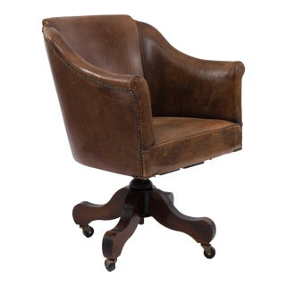 English Brown Leather Swivel Chair For Sale