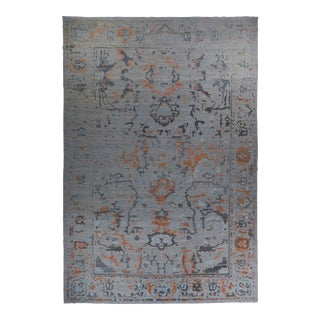 Persian Oushak Style Rug With Rust & Gray Floral Details on Beige Field For Sale