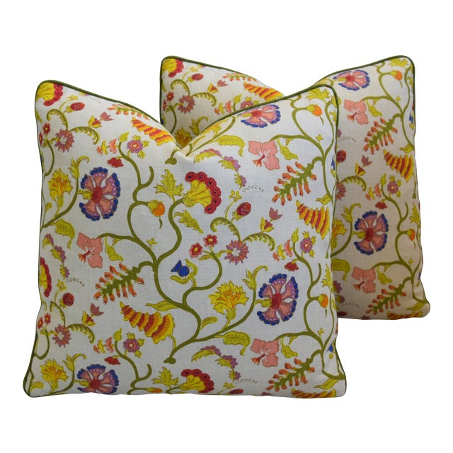 """Raoul Floral & Scalamadre Mohair Feather/Down Pillows 21"""" Square - Pair For Sale"""