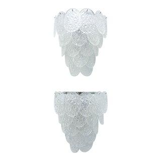 Set of Four Italian Modern Handblown Glass and Chrome Wall Lights, Venini For Sale
