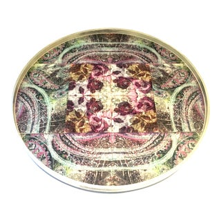 21st Century Wood and Printed Linen Round Handled Lazy Susan Center Tray For Sale