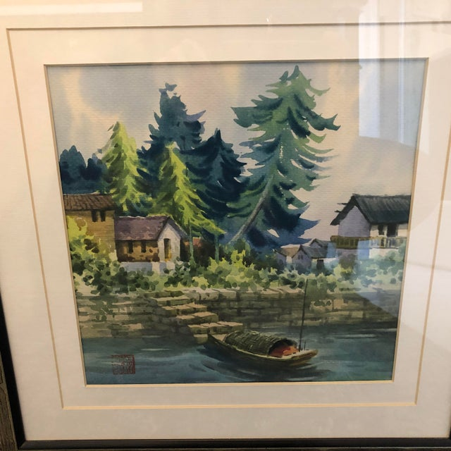 2cd737e30 Metal 1970s Vintage Chinese Watercolor Paintings - A Pair For Sale - Image  7 of 12