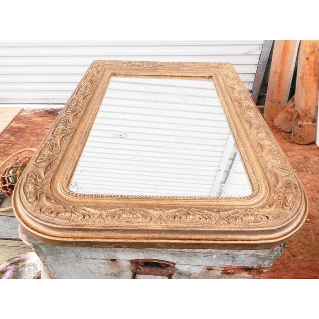 Early 20th Century Antique French Art Nouveau Patinated Gold Mirror For Sale - Image 4 of 9