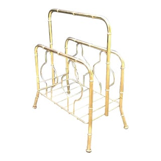 Hollywood Regency Brass Bamboo Magazine Rack For Sale