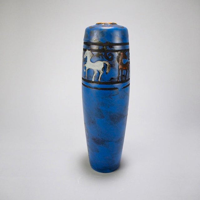 Mid-Century Modern West German Blue Ceramic Vase With Stylized Horses For Sale - Image 3 of 7