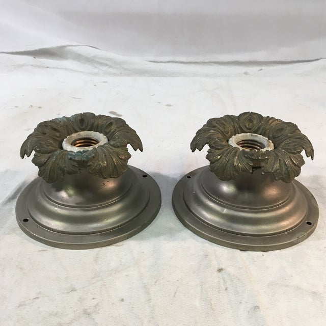 1920s Art Deco Neoclassical Single Bulb Flush Mounts - a Pair For Sale - Image 9 of 9