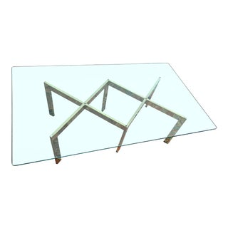 Milo Baughman, Thayer Coggin Brass Double X Coffee Table For Sale