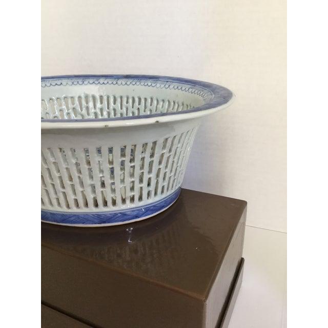 Chinese Canton Blue & White Basket - Image 6 of 7