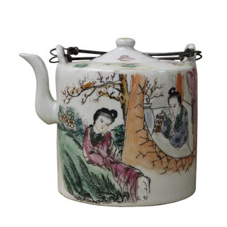 Chinese Couple Porcelain Decorative Teapot For Sale