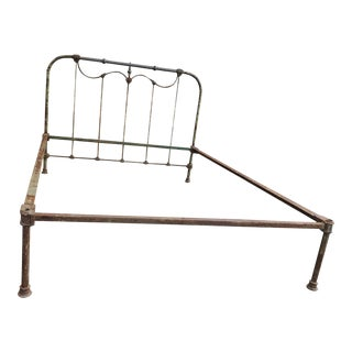 Antique Wrought Iron and Brass Bed For Sale