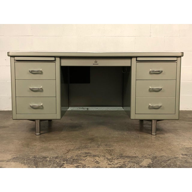 Industrial Steelcase Mid-Century Industrial Steel Tanker Desk For Sale - Image 3 of 13