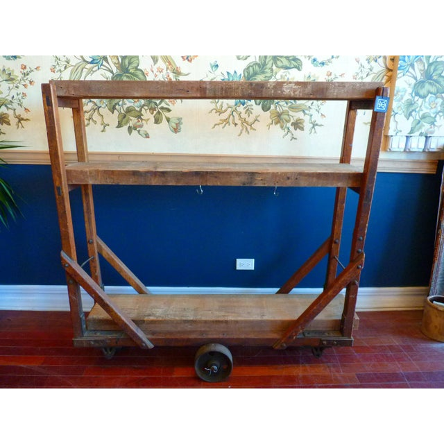Vintage Industrial Trolly Cart as Open Shelving For Sale - Image 13 of 13