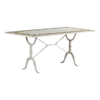 French Painted Ceramic Tile Bistro Table For Sale