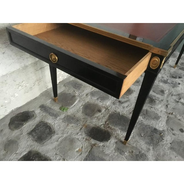 Black Maison Jansen Chicest Slender Desk With Side Drawers and Gold Bronze Adorn For Sale - Image 8 of 9